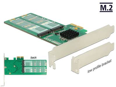 Carte PCI Express > 4 x interne M.2 Key B - Facteur de forme à profil bas