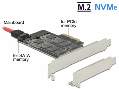 Carte PCI Express x4 > 1 x M.2 touche B interne + 1 x NVMe M.2 touche M interne - Facteur de forme à