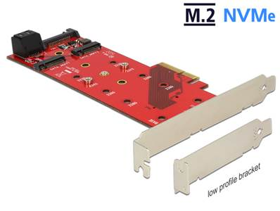 Carte PCI Express x4 > 2 x M.2 touche B interne + 1 x NVMe M.2 touche M interne - Facteur de forme à