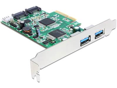 Carte PCI Express > 2 x externes USB 3.0 + 2 x internes SATA 6 Gb/s