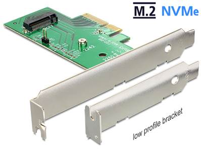 Carte PCI Express x4 > 1 x interne NVMe M.2 Key M 80 mm - Faible encombrement