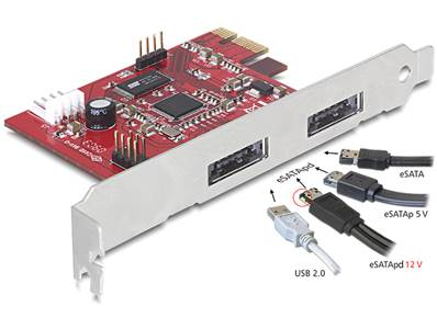 Carte PCI Express > 2x Power Over eSATA 5V/12V