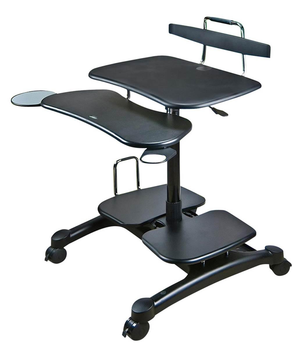 table poste mobile assis debout pour pc cran imprimante. Black Bedroom Furniture Sets. Home Design Ideas