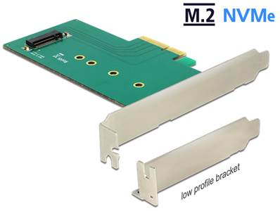 Carte PCI Express x4 > 1 x interne NVMe M.2 Key M 110 mm - Faible encombrement