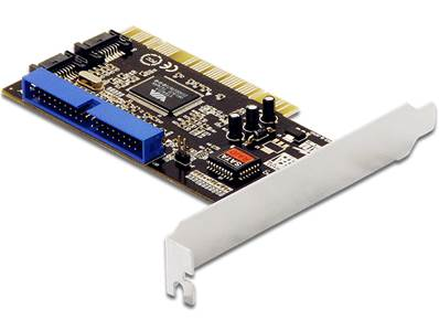 Carte PCI > 2 x internes SATA 1,5 Go/s + 1 x interne IDE