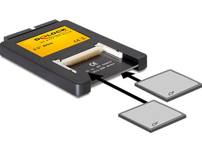 "2.5"" Lecteur de cartes IDE > 2 x Compact Flash Card"
